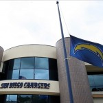 May 2, 2012; San Diego, CA, USA; A flag flies at half mast at Charger Park in respect for the passing of former San Diego Chargers linebacker Junior Seau. Mandatory Credit: Jake Roth-US PRESSWIRE