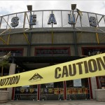 May 2, 2012; San Diego, CA, USA; Caution tape blocks off the front of Seau