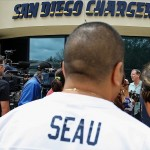 May 2, 2012; San Diego, CA, USA; San Diego Chargers head coach Norv Turner (right) addresses the media at Charger Park after the passing of former Charger player Junior Seau. Mandatory Credit: Jake Roth-US PRESSWIRE
