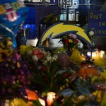 May 2, 2012; San Diego, CA, USA; General view of an impromptu memorial celebrating the life of San Diego Charger former linebacker Junior Seau in front of Seau