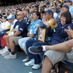 May 11, 2012; San Diego, CA, USA; Fans react at the Celebration of Life for Junior Seau at Qualcomm Stadium. Mandatory Credit: Kirby Lee/Image of Sport-US PRESSWIRE