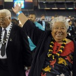 May 10, 2012; San Diego, CA, USA; Tiaina Seau (left) and Luisa Seau attend the Celebration of Life for Junior Seau in honor of their late son at Qualcomm Stadium. Mandatory Credit: Kirby Lee/Image of Sport-US PRESSWIRE