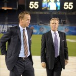 May 10, 2012; San Diego, CA, USA; Peyton Manning (left) and John Elway attend the Celebration of Life for Junior Seau at Qualcomm Stadium. Mandatory Credit: Kirby Lee/Image of Sport-US PRESSWIRE