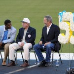 May 10, 2012; San Diego, CA, USA; LaDainian Tomlinson (left), Bobby Ross (center) and Dan Fouts at the Celebration of Life for Junior Seau at Qualcomm Stadium. Mandatory Credit: Kirby Lee/Image of Sport-US PRESSWIRE