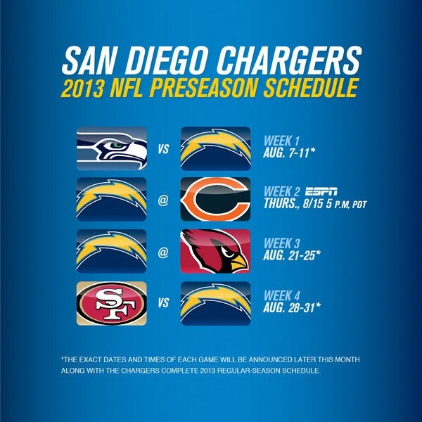 San Diego Chargers Calendar: San Diego Chargers 2013 Preseason Schedule Announced