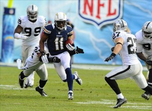 December 30, 2012; San Diego, CA, USA; San Diego Chargers wide receiver Eddie Royal (11) runs after a reception during the first quarter against the Oakland Raiders at Qualcomm Stadium. Mandatory Credit: Christopher Hanewinckel-USA TODAY Sports