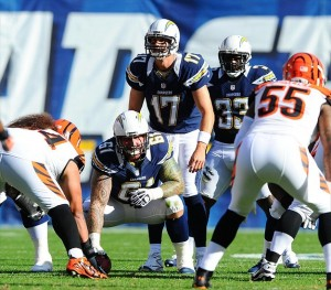 December 2, 2012; San Diego, CA, USA; San Diego Chargers quarterback Philip Rivers (17) lines up under center during the first quarter against the Cincinnati Bengals at Qualcomm Stadium. Mandatory Credit: Christopher Hanewinckel-USA TODAY Sports