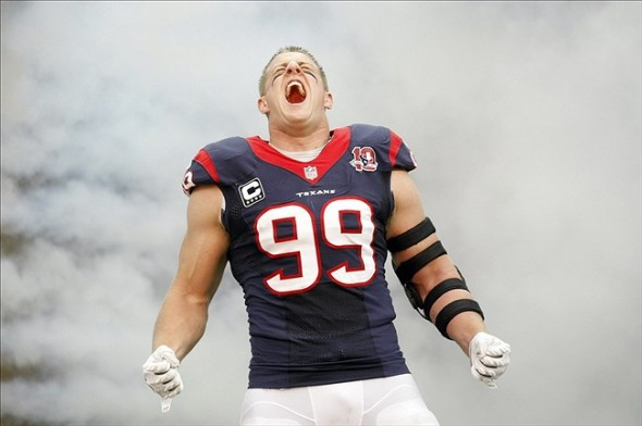 Dec 23, 2012; Houston, TX, USA; Houston Texans defensive end J.J. Watt (99) is introduced before a game against the Minnesota Vikings at Reliant Stadium. Mandatory Credit: Brett Davis-USA TODAY Sports