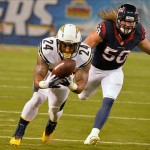 Sep 9, 2013; San Diego, CA, USA; San Diego Chargers running back Ryan Mathews (24) scores a touchdown past Houston Texans linebacker Bryan Braman (50) during the opening 15 seconds of the first quarter at Qualcomm Stadium. Mandatory Credit: Robert Hanashiro-USA TODAY