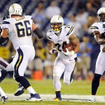 Sep 9, 2013; San Diego, CA, USA; San Diego Chargers running back Ryan Mathews (24) runs for a short gain during the first half against the Houston Texans at Qualcomm Stadium. Mandatory Credit: Christopher Hanewinckel-USA TODAY Sports