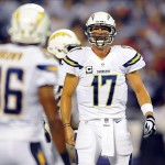 Sep 9, 2013; San Diego, CA, USA; San Diego Chargers quarterback Philip Rivers (17) changes the play at the line during the first half against the Houston Texans at Qualcomm Stadium. Mandatory Credit: Christopher Hanewinckel-USA TODAY Sports