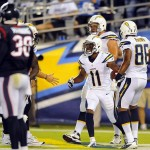 Sep 9, 2013; San Diego, CA, USA; San Diego Chargers receiver Eddie Royal (11) celebrates after a touchdown during the first half against the Houston Texans at Qualcomm Stadium. Mandatory Credit: Christopher Hanewinckel-USA TODAY Sports