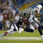 Sep 9, 2013; San Diego, CA, USA; San Diego Chargers tight end Antonio Gates (85) is defended by Houston Texans safety D.J. Swearinger (36) on a reception at Qualcomm Stadium. Mandatory Credit: Kirby Lee-USA TODAY Sports