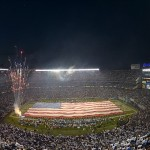 Sep 9, 2013; San Diego, CA, USA; General view of fireworks and a United States flag at Qualcomm Stadium during the playing of the national anthem before the NFL game between the Houston Texans and the San Diego Chargers. Mandatory Credit: Kirby Lee-USA TODAY Sports