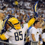 Sep 9, 2013; San Diego, CA, USA; A San Diego Chargers fan cheers during the first half against the Houston Texans at Qualcomm Stadium. Mandatory Credit: Christopher Hanewinckel-USA TODAY Sports