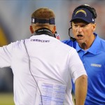 Sep 9, 2013; San Diego, CA, USA; San Diego Chargers offensive coordinator Ken Whisenhunt and head coach Mike McCoy yell at the referee during the first half against the Houston Texans at Qualcomm Stadium. Mandatory Credit: Christopher Hanewinckel-USA TODAY Sports
