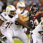 Sep 9, 2013; San Diego, CA, USA; Houston Texans defensive end J.J. Watt (99) works against San Diego Chargers offensive tackle D.J. Fluker (76) during the first half at Qualcomm Stadium. Mandatory Credit: Christopher Hanewinckel-USA TODAY Sports