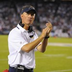 Sep 9, 2013; San Diego, CA, USA; San Diego Chargers head coach Mike McCoy claps as officials review a play during the first half against the Houston Texans at Qualcomm Stadium. Mandatory Credit: Christopher Hanewinckel-USA TODAY Sports