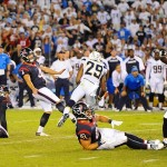 Sep 9, 2013; San Diego, CA, USA; Houston Texans kicker Randy Bullock (4) kicks the game-winning field goal in the closing seconds of the fourth quarter against the San Diego Chargers at Qualcomm Stadium. The Texans won 31-28. Mandatory Credit: Christopher Hanewinckel-USA TODAY Sports