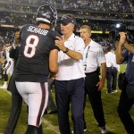 Sep 9, 2013; San Diego, CA, USA; Houston Texans quarterback Matt Schaub (8) talks to San Diego Charger head coach Mike McCoy after the Texans defeated the Chargers 31-28 at Qualcomm Stadium. Mandatory Credit: Robert Hanashiro-USA TODAY