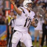 Sep 9, 2013; San Diego, CA, USA; San Diego Chargers quarterback Philip Rivers (17) passes against the Houston Texans during the fourth quarter at Qualcomm Stadium. The Charger lost to the Texans 31-28. Mandatory Credit: Robert Hanashiro-USA TODAY