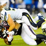 Sep 9, 2013; San Diego, CA, USA; Houston Texans running back Arian Foster (23) is tackled by San Diego Chargers linebacker Bront Bird (97) during the second half at Qualcomm Stadium. Mandatory Credit: Christopher Hanewinckel-USA TODAY Sports