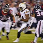 Sep 9, 2013; San Diego, CA, USA; San Diego Chargers running back Fozzy Whittaker (34) runs back a kick 34 yards during third quarter action against the Houston Texans at Qualcomm Stadium. The Chargers lost 31-28 as the Texans scored the winning field goal as time expired. Mandatory Credit: Robert Hanashiro-USA TODAY