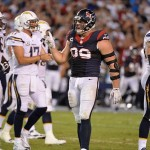 Sep 9, 2013; San Diego, CA, USA; Houston Texans defensive end J.J. Watt (99) shakes his finger after the Texans defense batted down a Philip Rivers (17) pass at the line of scrimmage during second half action at Qualcomm Stadium. Mandatory Credit: Robert Hanashiro-USA TODAY