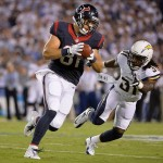 Sep 9, 2013; San Diego, CA, USA; Houston Texans tight end Owen Daniels (81) runs the ball past San Diego Chargers running back Fozzy Whittaker (34) during the first half at Qualcomm Stadium. Mandatory Credit: Robert Hanashiro-USA TODAY