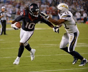 Sep 9, 2013; San Diego, CA, USA; Houston Texans wide receiver DeAndre Hopkins (10) heads up field past San Diego Chargers cornerback Derek Cox (22) during second half action at Qualcomm Stadium. Mandatory Credit: Robert Hanashiro-USA TODAY