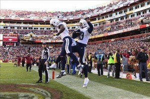 Nov 3, 2013; Landover, MD, USA; San Diego Chargers wide receiver Keenan Allen (13) and wide receiver Eddie Royal (11) celebrate after Allen