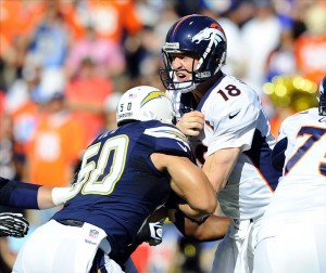 Nov 10, 2013; San Diego, CA, USA; Denver Broncos quarterback Peyton Manning (18) is hit by San Diego Chargers linebacker Manti Te