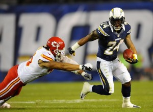 November 1, 2012; San Diego, CA, USA; San Diego Chargers running back Ryan Mathews (24) runs for a short gain during the second quarter against the Kansas City Chiefs at Qualcomm Stadium. Mandatory Credit: Christopher Hanewinckel-USA TODAY Sports