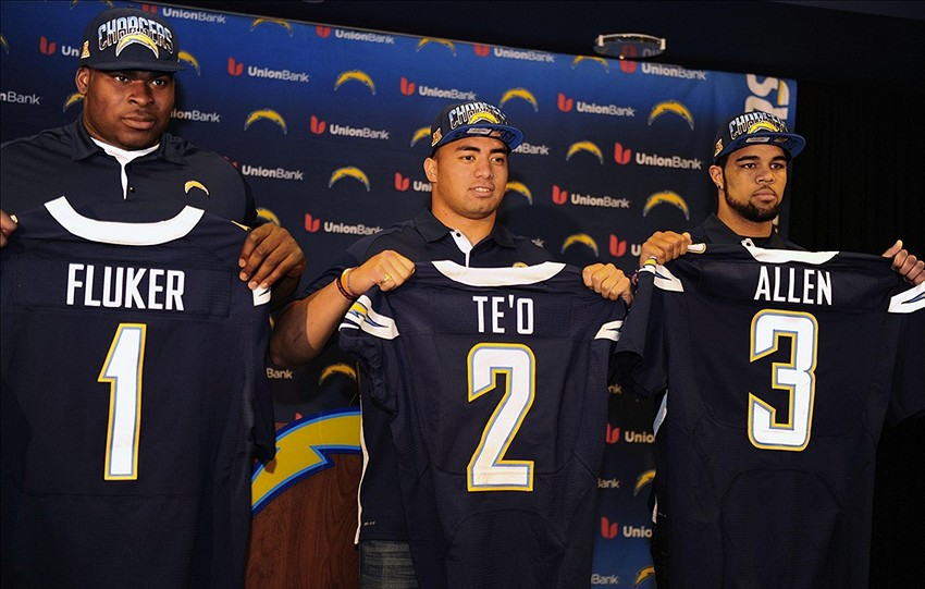 Apr 27, 2013; San Diego, CA, USA; San Diego Chargers draft picks D.J. Fluker , Manti Teo and Keenan Allen pose for a photo with their jerseys during a press conference at Chargers Park. Mandatory Credit: Christopher Hanewinckel-USA TODAY Sports