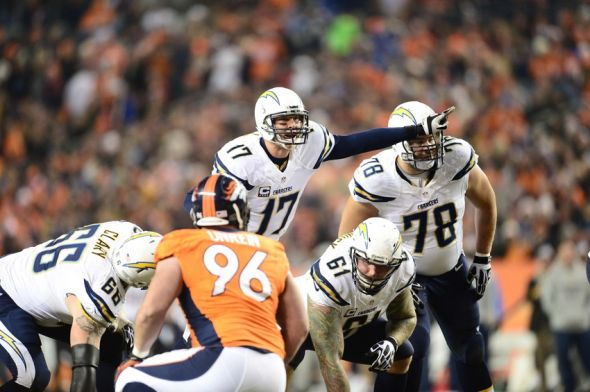 Dec 12, 2013; Denver, CO, USA; San Diego Chargers guard Jeromey Clary (66) and center Nick Hardwick (61) and guard Chad Rinehart (78) listen to an audible called by quarterback Philip Rivers (17) in the second quarter against the Denver Broncos at Sports Authority Field at Mile High. Mandatory Credit: Ron Chenoy-USA TODAY Sports