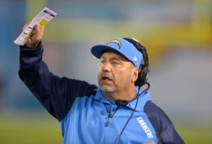 Oct 14, 2013; San Diego, CA, USA; San Diego Chargers defensive coordinator John Pagano reacts during the game against the Indianapolis Colts at Qualcomm Stadium. The Chargers defeated the Colts 19-9. Mandatory Credit: Kirby Lee-USA TODAY Sports