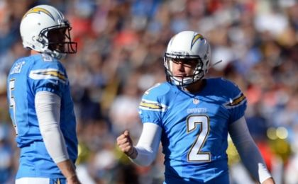 Nov 22, 2015; San Diego, CA, USA; San Diego Chargers kicker Josh Lambo (2) celebrates a field goal with punter Mike Scifres (5) during the second quarter against the Kansas City Chiefs at Qualcomm Stadium. Mandatory Credit: Jake Roth-USA TODAY Sports