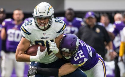Aug 28, 2016; Minneapolis, MN, USA; San Diego Chargers tight end Hunter Henry (86) carries the ball as Minnesota Vikings safety Harrison Smith (22) tackles during the first quarter in a preseason game at U.S. Bank Stadium. Mandatory Credit: Brace Hemmelgarn-USA TODAY Sports