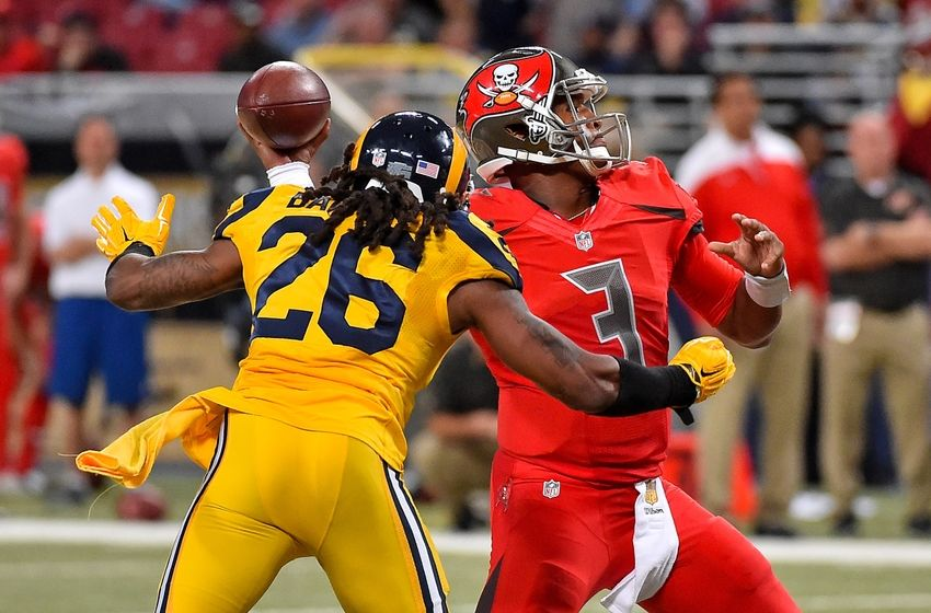 902dbc5c5 Dec 17, 2015; St. Louis, MO, USA; St. Louis Rams outside linebacker Mark  Barron (26) pressures Tampa Bay Buccaneers quarterback Jameis Winston (3)  during ...