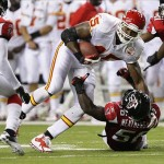 Aug 13, 2010; Atlanta, GA, USA; Kansas City Chiefs tight end Leonard Pope (45) runs over Atlanta Falcons linebacker Sean Weatherspoon, bottom, during the second quarter at the Georgia Dome. Mandatory Credit: Josh D. Weiss-US PRESSWIRE