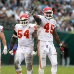 November 7, 2010; Oakland, CA, USA; Kansas City Chiefs tight end Leonard Pope (45) signals a first down after Oakland Raiders cornerback Chris Johnson (not pictured) was called for pass interference in the first quarter at Oakland-Alameda County Coliseum. Mandatory Credit: Cary Edmondson-US PRESSWIRE