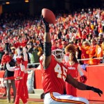 Dec 5, 2010; Kansas City, MO, USA; Kansas City Chiefs tight end Leonard Pope (45) celebrates after making a catch for a touchdown in the first half of the game against the Denver Broncos at Arrowhead Stadium. Mandatory Credit: Denny Medley-US PRESSWIRE
