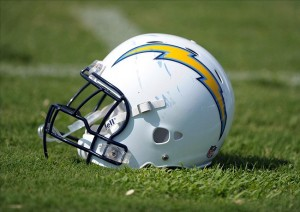 Jul 31, 2011; San Diego, CA, USA; General view of a San Diego Chargers helmet at training camp at San Diego Chargers training camp at Chargers Park. Mandatory Credit: Kirby Lee/Image of Sport-US PRESSWIRE