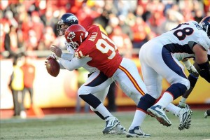 Tamba Hali tackles Chiefs -- err -- Broncos Quarterback Kyle Orton, forcing a fumble in the process.John Rieger-US PRESSWIRE