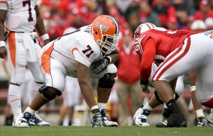 Oct 25, 2008; Madison, WI, USA; Illinois offensive lineman Jeff Allen (71) lines up for a play during the game against Wisconsin at Camp Randall Stadium. Wisconsin defeated Illinois 27-17. Mandatory Credit: Jeff Hanisch-US PRESSWIRE