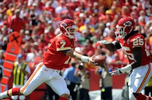 Sep 11, 2011; Kansas City, MO, USA; Kansas City Chiefs quarterback Matt Cassel (7) hands off to running back Jamaal Charles (25) against the Buffalo Bills in the first half at Arrowhead Stadium. Mandatory Credit: John Rieger-US PRESSWIRE