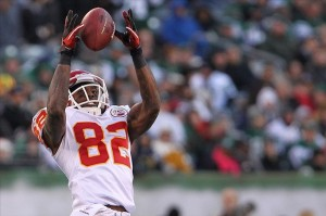 Dec 11, 2011; East Rutherford, NJ, USA; Kansas City Chiefs wide receiver Dwayne Bowe (82) receives a pass during the third quarter against the New York Jets at MetLife Stadium. Mandatory Credit: Anthony Gruppuso-US PRESSWIRE