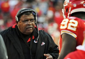 Dec 24, 2011; Kansas City, MO, USA; Kansas City Chiefs head coach Romeo Crennel on the sidelines against the Oakland Raiders in the second half at Arrowhead Stadium. Mandatory Credit: John Rieger-US PRESSWIRE