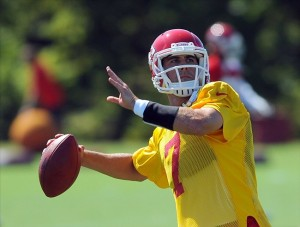 July 27, 2012; St. Joseph, MO, USA; Kansas City Chiefs quarterback Matt Cassel (7) drops back to pass during training camp at Missouri Western State University. Mandatory Credit: Denny Medley-US PRESSWIRE