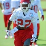 July 27, 2012; St. Joseph, MO, USA; Kansas City Chiefs running back Dexter McCluster (22) runs drills during training camp at Missouri Western State University. Mandatory Credit: Denny Medley-US PRESSWIRE